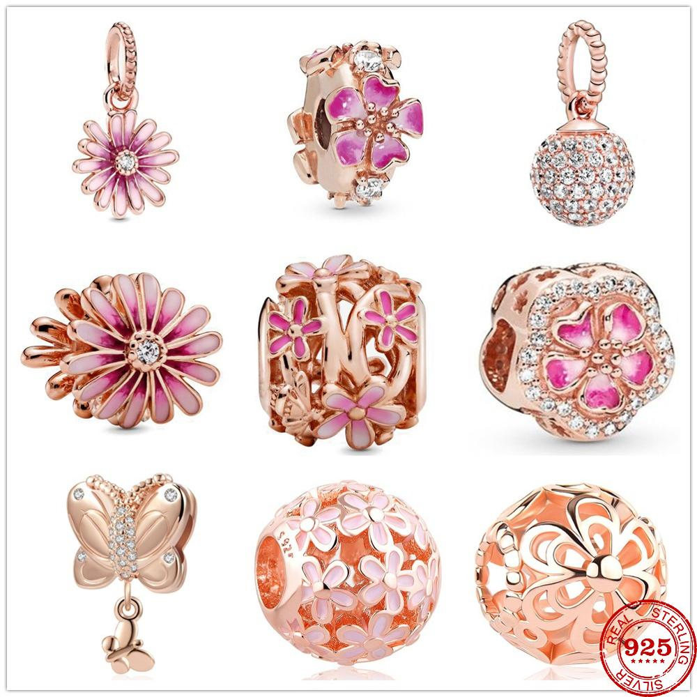Newst 925 Sterling Silver Beads Pink Daisy Flower Dangle Charm Rose Gold Fit Original Pandora Charms silver 925 Bracelet Jewelry(China)