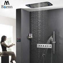 цена на Luxury Rainfall Ceiling Shower Head LED Shower Set Faucets Tap Shower Thermostatic Mixer Valve Big Waterfall 304SUS Showers Bath