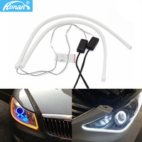 RONAN-luz de circulación diurna para coche, 2X60cm, tira LED Flexible secuencial Universal, luz blanca, DRL, amarilla, intermitente