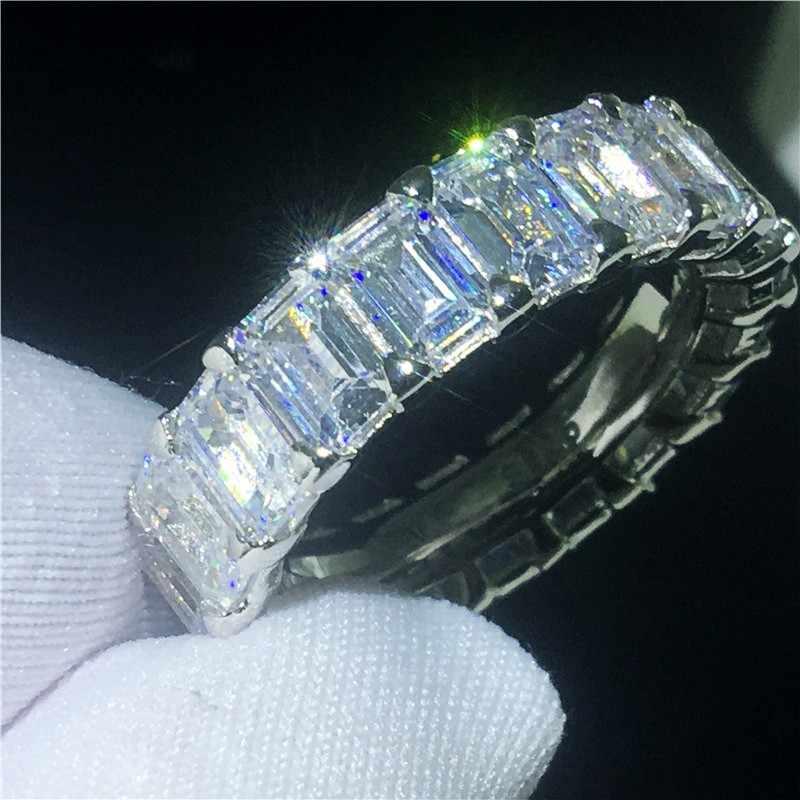 Choucong Eternal Eternity แหวน 925 เงินสเตอร์ลิง Emeald ตัด AAAAA CZ แหวนหมั้นแหวนผู้หญิงผู้ชายเครื่องประดับ