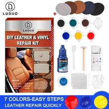 LUDUO Kit de reparación de cuero líquido de vinilo, pasta de pegamento para Reparación de la piel de asiento de coche, reacondicionar la ropa, zapatos, grietas fijas con parche de 10 Uds.