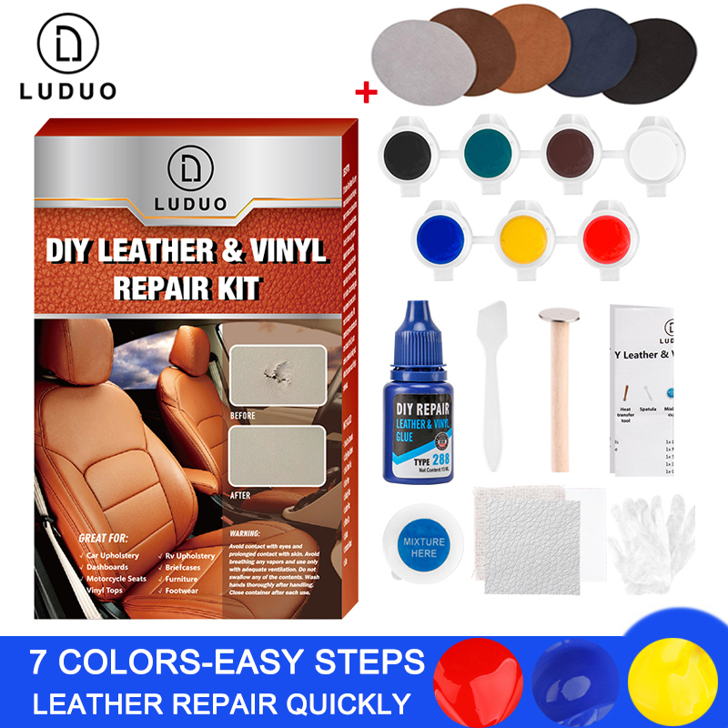 LUDUO Vinyl Liquid Leather Repair Kit Glue Paste Car Seat Skin Repair Clothing Shoes Boot Fix Crack Paint Care with 10pcs Patch-in Polishes from Automobiles & Motorcycles