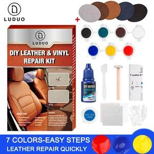 Image 1 - LUDUO Vinyl Liquid Leather zestaw naprawczy klej wklej fotelik samochodowy poprawa stanu skóry Refurbish odzież buty Boot Fix Crack z 10 sztuk Patch