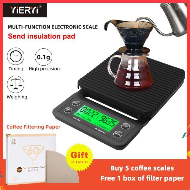 타이머가 있는 휴대용 드립 커피 저울, 3kg/0.1g 5kg/0.1g 전자 디지털 주방용 저울, 고정밀 LCD 전자 저울