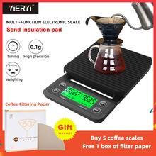 Balânça de cozinha digital eletrônica portátil, balança de café com temporizador, 3kg/0.1g 5kg/0.1g balanças eletrônicas lcd de alta precisão
