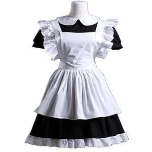 Image 3 - הוט קוטור גותי לוליטה מותניים סינר שמלת עוזרת חליפות כותנה יפני קוספליי תחפושות לבן טלאי רול שרוולים קצר