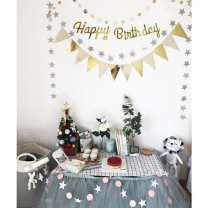 Image 5 - Rose Gold Happy Birthday Decoration Banner 1st First Birthday Boy Girl Party Kids Adult Bunting Fabric Flags Garland One Year
