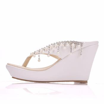 Crystal Queen Women Slippers Summer White Color Style Beaches Flip Flops Platform Sandals Open-toed Casual Shoes Big Size 34-43 4