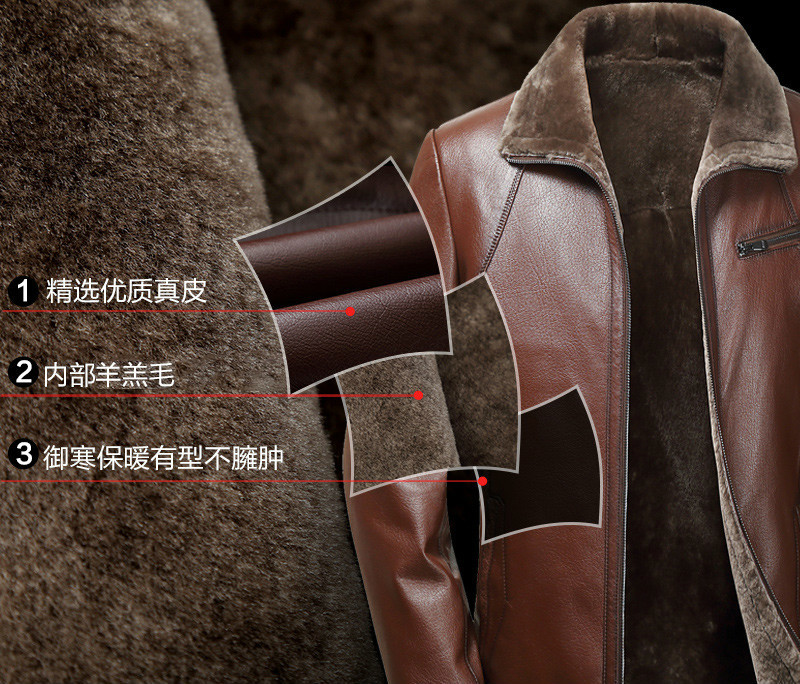 Genuine Leather Jacket Men Winter Real Fur Coat Shearling Jackets 100% Sheepskin Coat Veste Cuir Homme KS-1588 KJ3851