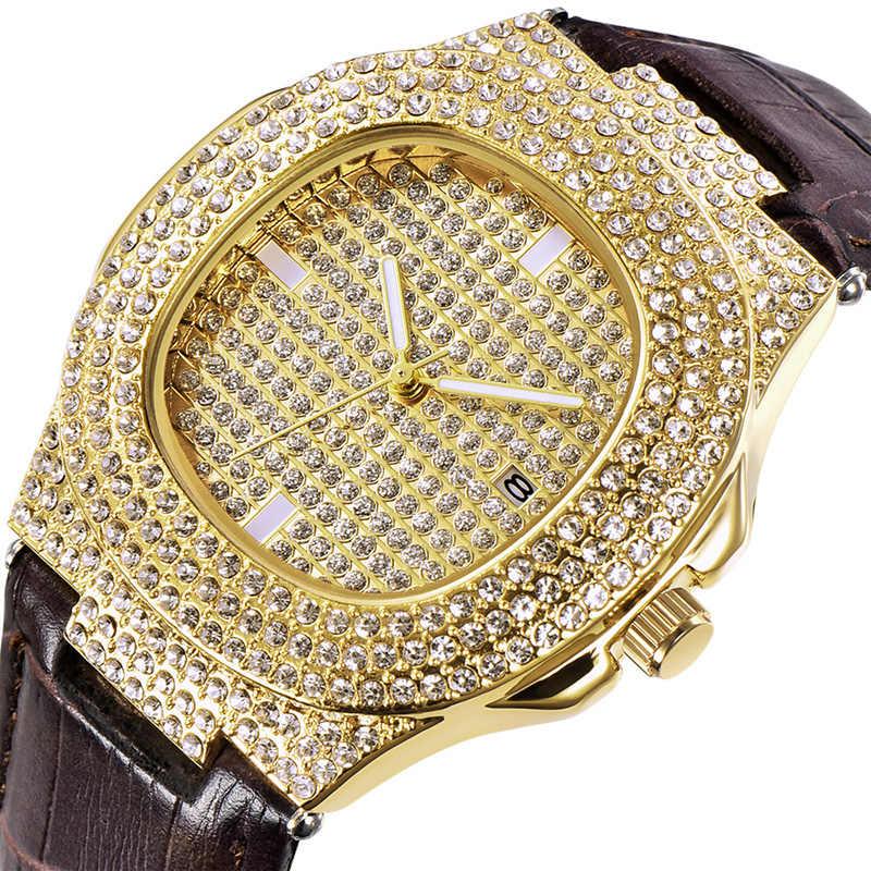 Hip Hop mode 5 couleurs hommes glacé montres de luxe Date Quartz montres avec Micropave CZ montre pour femmes hommes bijoux