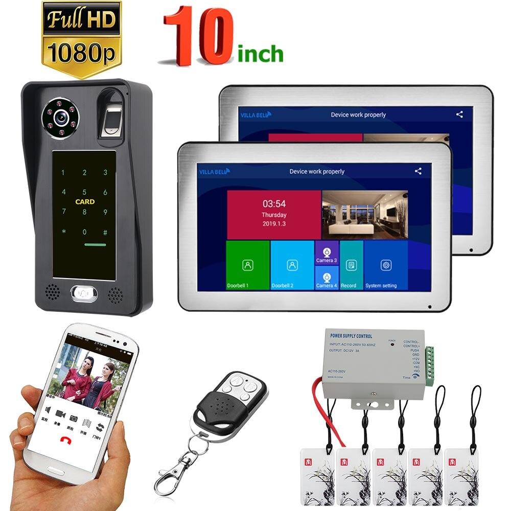 10 Inch  2 Monitors  Wifi Wireless Fingerprint IC Card  Video Door Phone Doorbell Intercom System With Wired AHD 1080P  Door Acc
