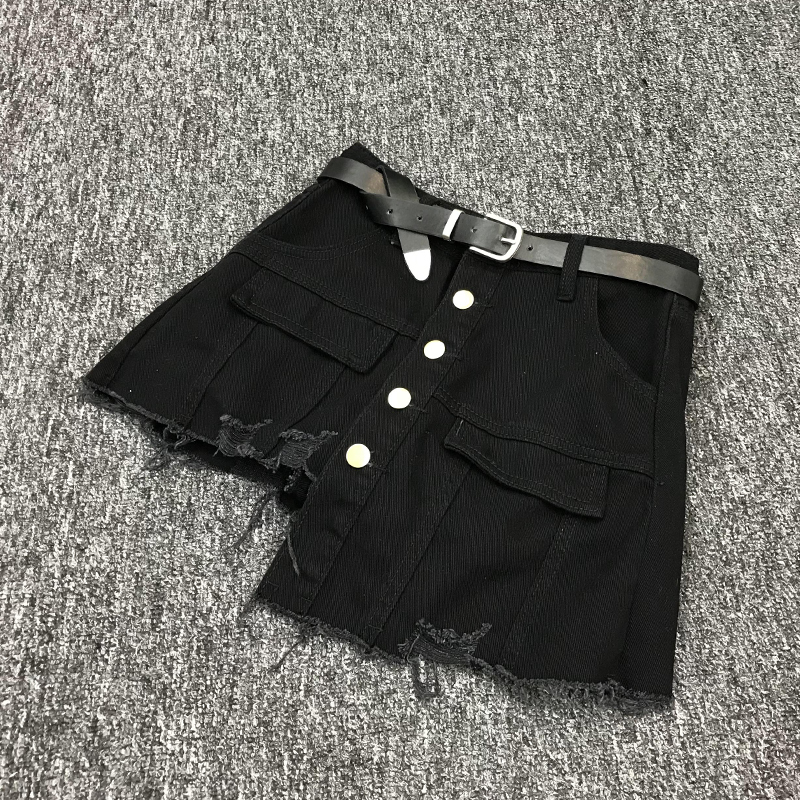 Women Harajuku Irregular Jeans Shorts Skirts Korean Buttons High Waist Kpop Denim Short Pants Casual Ripped Streetwear Shorts
