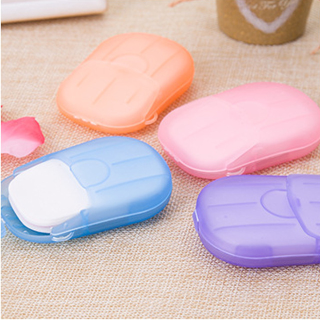 20/40/80PCS Disposable Soap Boxes Portable Travel Soap Paper Outdoor Washing Hand Bath Scented Slice Sheets Mini Soap 5