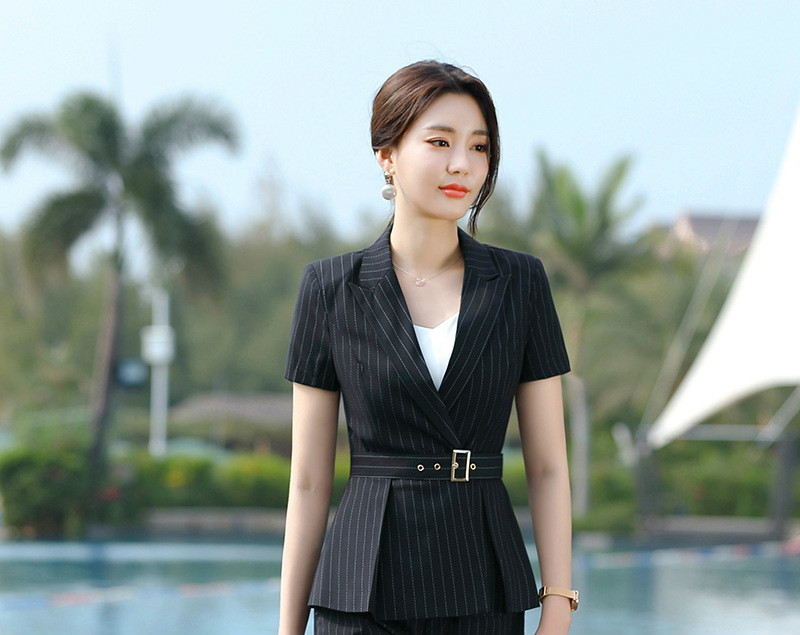 New 2020 Summer Women Formal Pant Suits Short Sleeve Blazer And Pants Office Ladies Business Work Wear Suits Set 2 Pieces OL Top