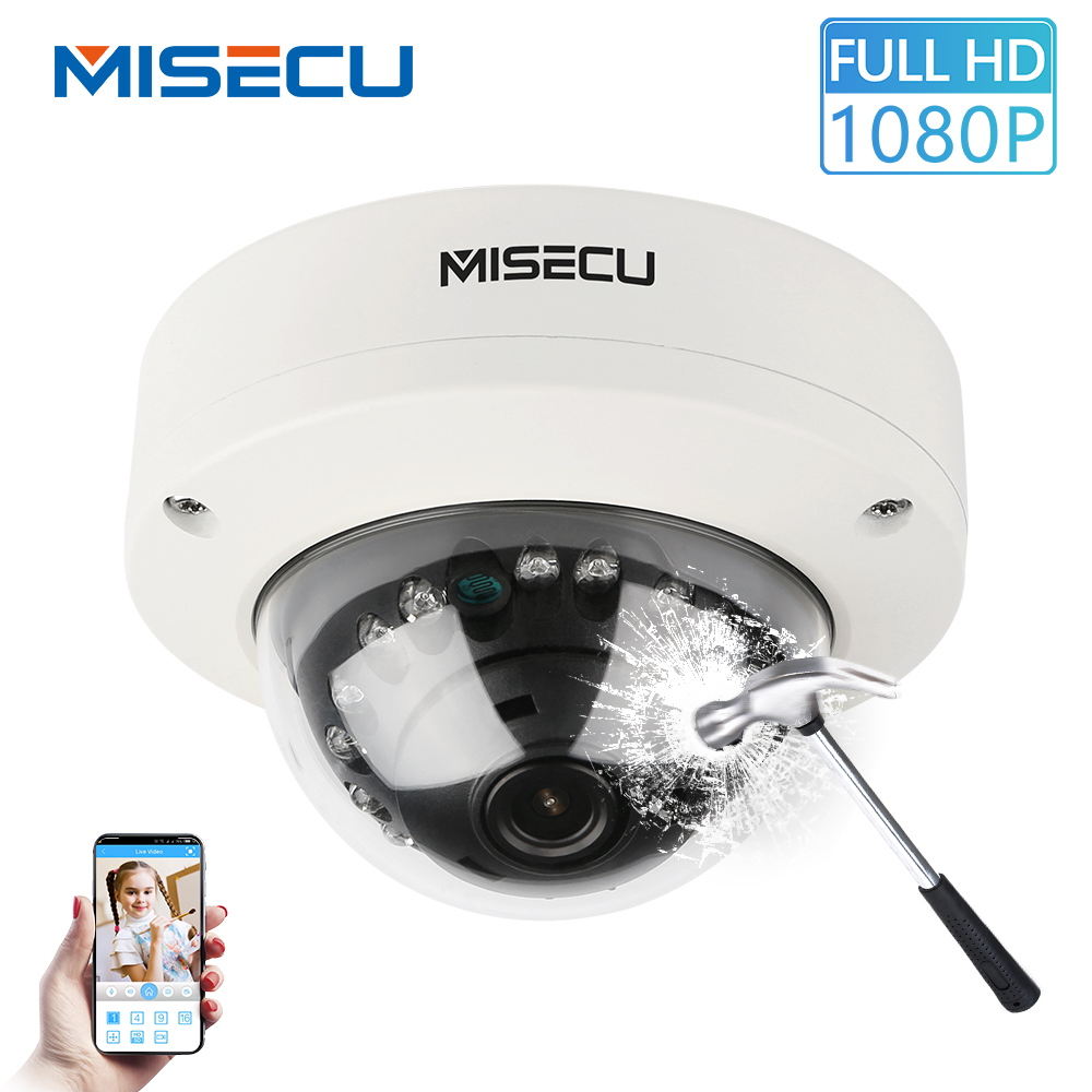 MISECU 2.8mm Vandalproof 1080P H.265 48V POE Camera Metal Indoor Dome Onvif P2P Motion Detect Email IR Night Security IP Camera