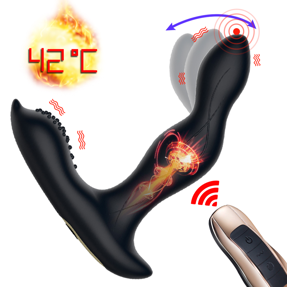 Heating Anal Plug Vibrator Male Prostate <font><b>Massager</b></font> Bending G-Spot Stimulator Wireless Remote <font><b>Dildo</b></font> Butt Plugs <font><b>Sex</b></font> <font><b>Toys</b></font> For Man image