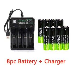 Image 2 - 2/4/8pcs סוללה + 4 חריץ 3.7V 18650 USB מטען מהיר חינם חדש לגמרי פיצוץ 18650 9900mAh נטענת סוללת ליתיום