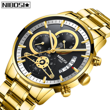 NIBOSI New Fashion Mens Watches Top Brand Luxury Stainless Steel Waterproof Spor