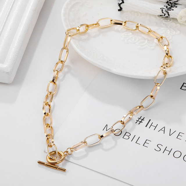 IPARAM Thick Chain Toggle Clasp Gold Necklaces Mixed Linked Circle Necklaces for Women Minimalist Choker Necklace Hot Jewelry 3