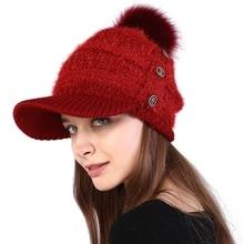 Помпон кнопки для меха одноцветная шапка Gorros женская вязаная зимняя теплая Дамская уличная Толстая вязаная теплая шапка козырьки