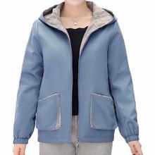 Autumn Women Casual Hooded Jackets Blue Purple Small Checked Pattern Hood Coats Female Leisure Outerwear Short Basic Jacket 2019 цена и фото