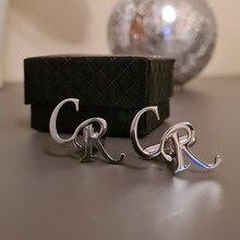 Personalizado nome da letra abotoaduras dos homens jóias presentes personalizar nomes botões botões botões iniciais letras casamento abotoamento noivo
