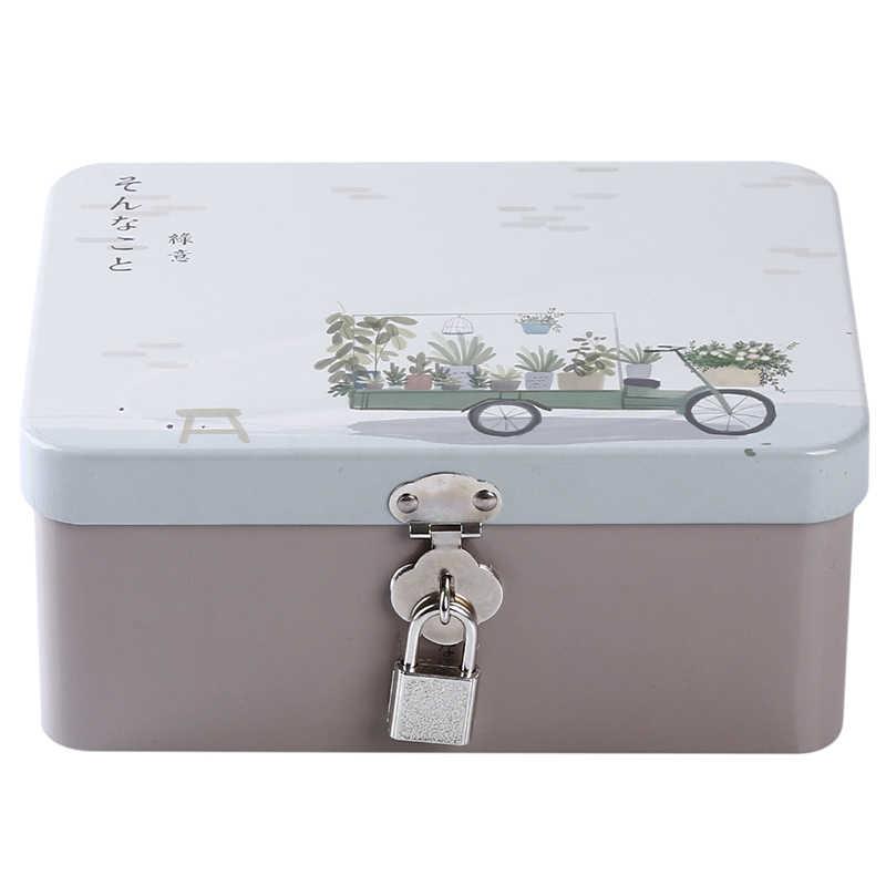 Красочная креативная жестяная коробка с замком, коробка для хранения, настольный органайзер для хранения, маленькая коробка для косметики, Подарочная коробка для детей