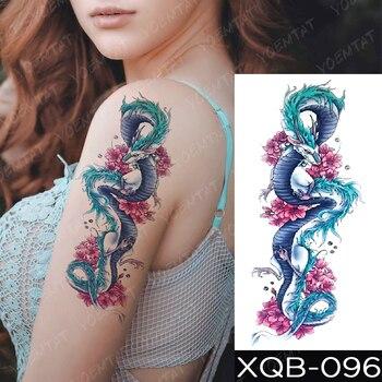 Waterproof Temporary Tattoo Sticker Blue Ice Dragon Plum Blossom Flash Tattoos Family Tree Fox Body Art Arm Fake Tatoo Women Men 1
