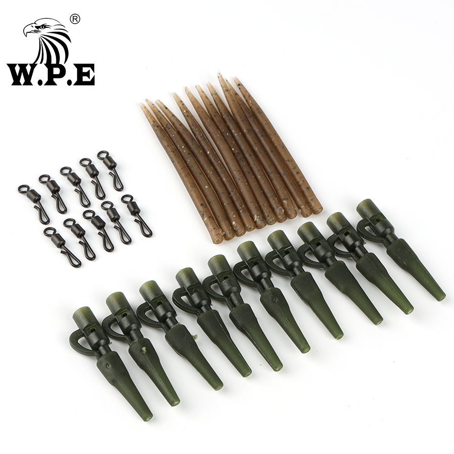 W.P.E 1Set/40pcs Carp Fishing Tackle Quick Change Swivels Lead Clips Anti Tangle Sleeves Protect Tail Rubber Connector Rigs