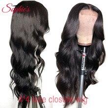 Sophie's – perruque Lace Closure wig brésilienne non-remy, cheveux naturels, Body Wave, 4*4, pre-plucked, avec Baby Hair, densité 150%