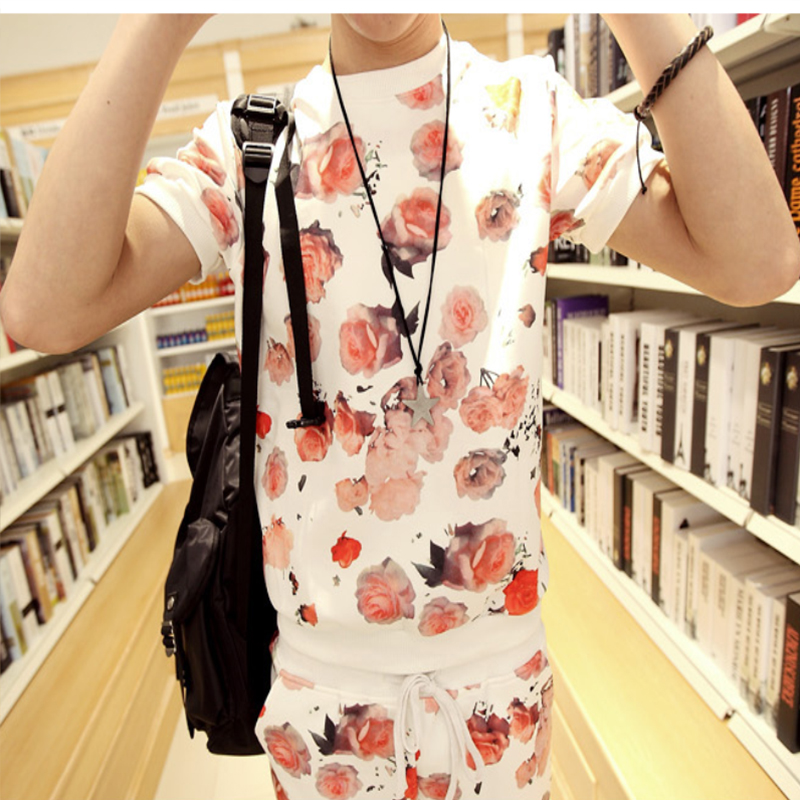 Space Cotton Rose Print Short-sleeved Suit Men's Student Wear College Style Men's Summer Trend Suit BF Trend