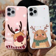 Cukierki różowe boże narodzenie Deer Case dla iPhone 12 12mini 11 Pro Max 7 8 6 6S Plus X Xr Xs Max 5 SE 2020 12 silikonowe okładki Coque prezenty tanie tanio CN (pochodzenie) silicone case fundas capa luxury accessories silicone tpu phone case Apple iphone ów Iphone 5 IPHONE 6S