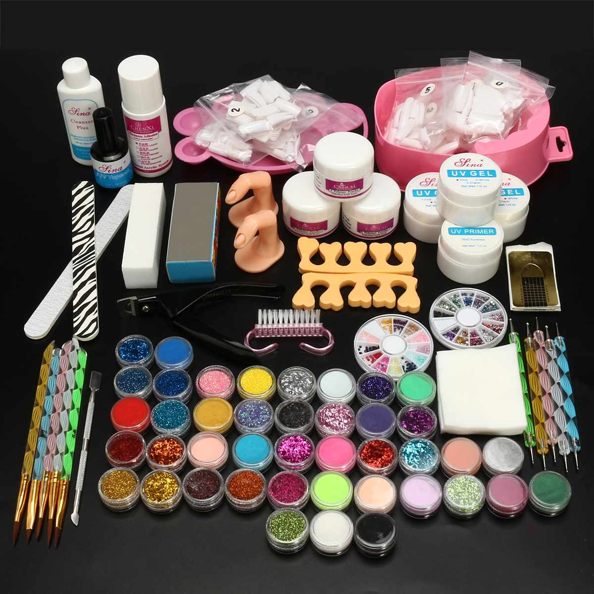 42 Colors Glitter Powder Glues Brushes Hollow Template Kit For Temporary Tattoo Kids Face Body DIY Nail Painting Art Tool Suit