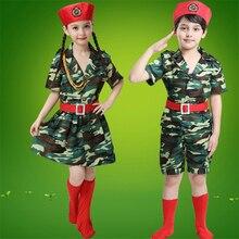 Платье для маленьких девочек скаутская форма Камуфляжный армейский костюм удобный маскарадный костюм на Хэллоуин Детский комплект одежды для мальчиков