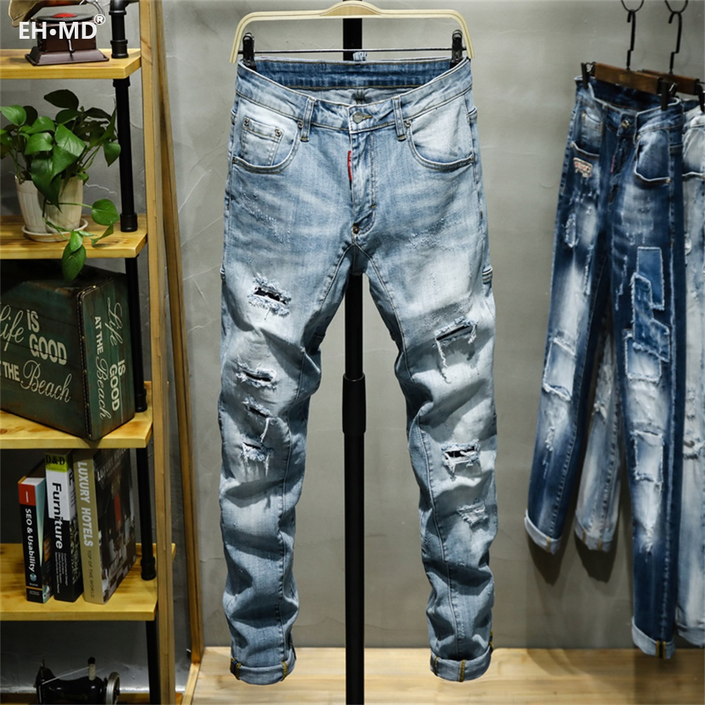 EH · MD® Triple Stitching Jeans Men's Large Leather Label Soft Casual Cotton Loose Scratch Trousers Holes Red Ears 2020 High-end