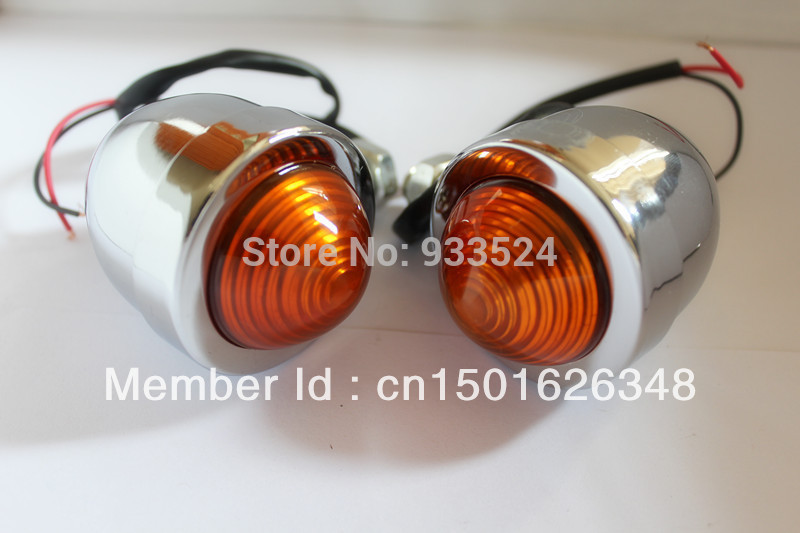 Pair Universal Motorcycle Chrome Amber Turn Signal Bullet For Harley Bobber Chopper Cruiser Custom LIGHTs Honda Ducati Ktm