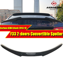 F33 Rear Spoiler AEM4 Style Carbon Fiber For BMW 4-Series 2-Door Convertible 420i 428i 430i 440i Trunk Wing 14+