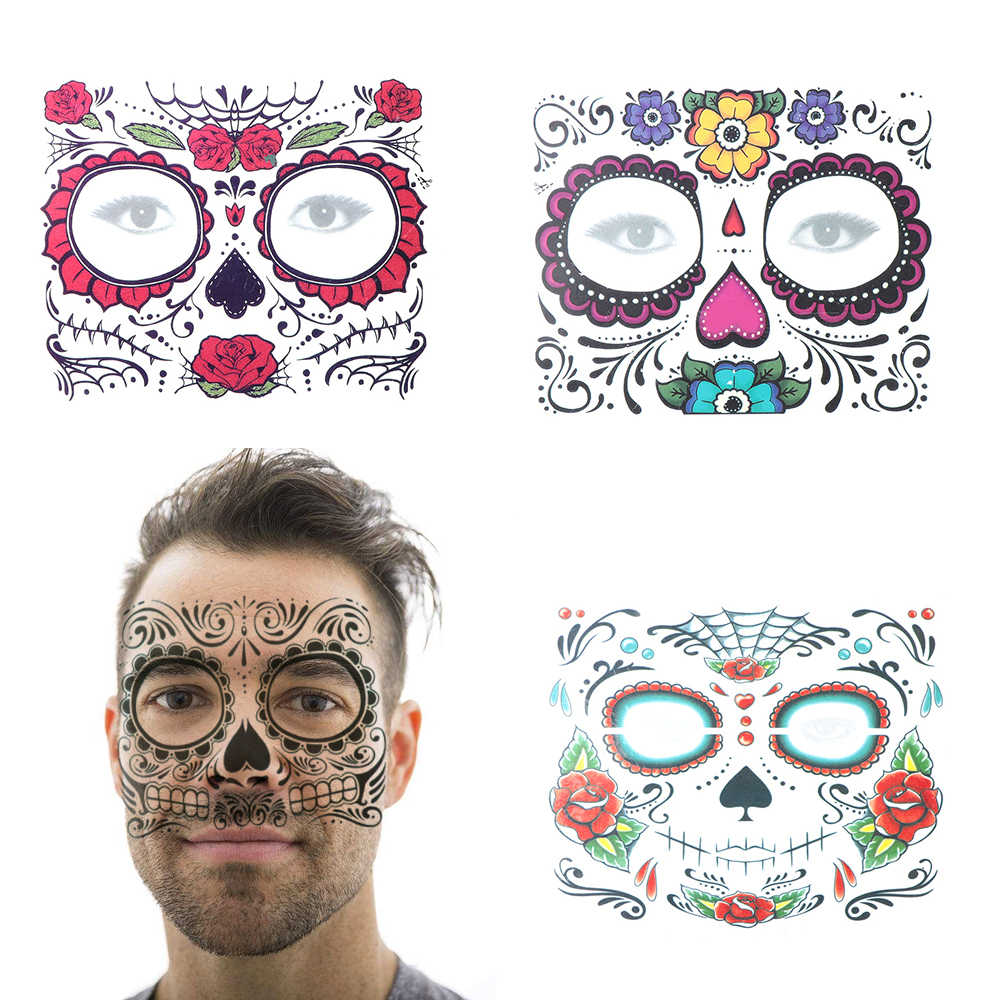 1PC Waterproof Temporary Skull Face Tattoo Stickers Long Lasting Halloween Dress up Decal Body Art Special Facial Makeup Tools