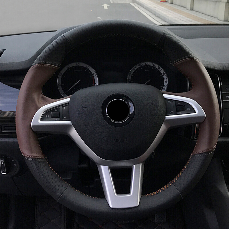For Skoda Kodiaq 2017 2018 2019 ABS Interior Car Steering Wheel Control Panel Button Cover Protector