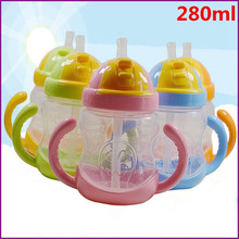 280ml Shock-resistant Baby Sippy Cups Kids Drinking Bottles Infant Children Learn Drinking Dual Handles Straw Juice Slid Feeding(China)
