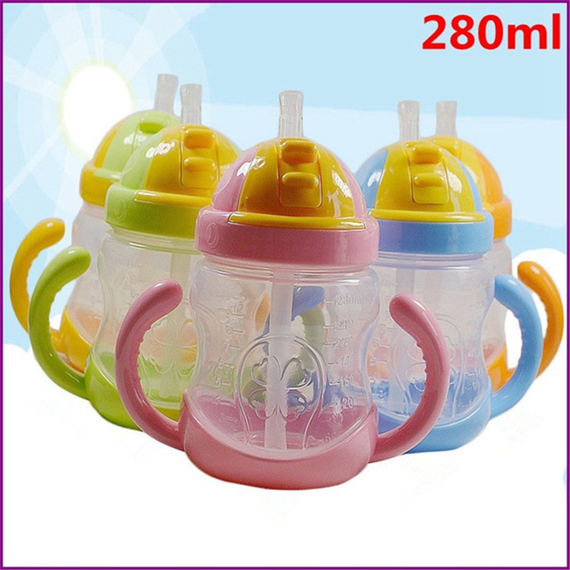 280ml Shock-resistant Baby Sippy Cups Kids Drinking Bottles Infant Children Learn Drinking Dual Handles Straw Juice Slid Feeding