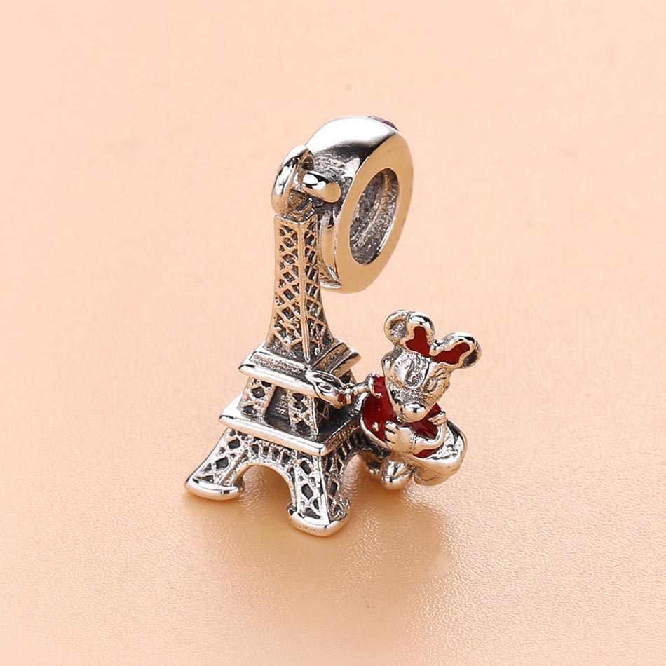 Ücretsiz kargo seyahat Minnie kulesi kolye boncuk Fit Pandora Charms gümüş 925 orijinal bilezik ve kolye DIY kadınlar takı