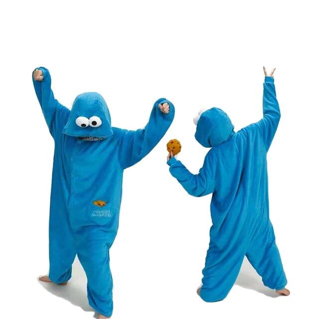 สีฟ้าชุดนอน Flannel ชุดนอน Kugurumi ฤดูหนาว Stitch ชุดนอนผู้หญิงผู้ชายผู้ใหญ่ Nightie การ์ตูน Sesame Street ชุดนอน