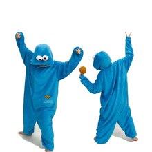 Pyjamas bleus ensembles flanelle pyjamas animaux Kugurumi point dhiver vêtements de nuit femmes hommes adultes nuisette dessin animé sésame rue pyjama