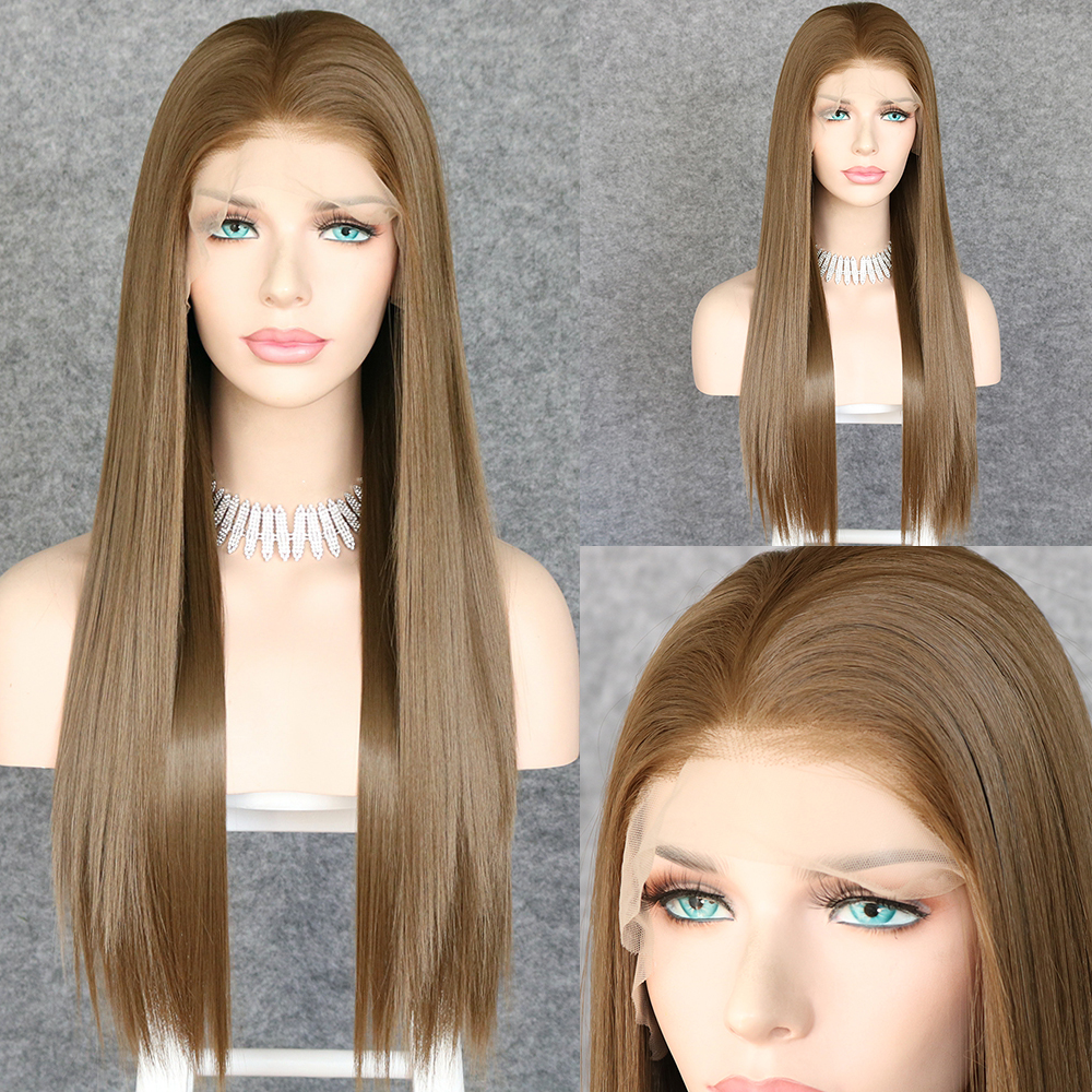 Lvcheryl 13x6 Brown 10# Color Free Part Futura Fiber Hair Wigs Heat Resistant Hair Straight Synthetic Lace Front Wig Daily Wear