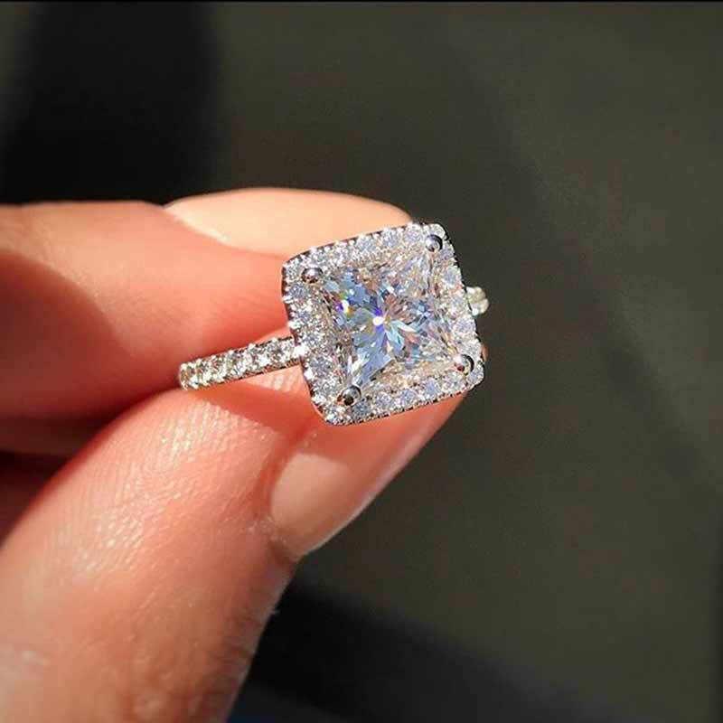 925 srebro pierścionki dla kobiet Bridal Wedding Anelli Trendy biżuteria zaręczynowy biały złoty kolor Anillos Muje