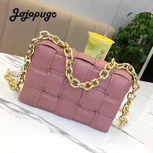 Luxury Women Shoulder Bags Metal Chain Woven Small Square Bag Genuine Leather Ladies Crossbody Bag Cowhide Phone Clutch