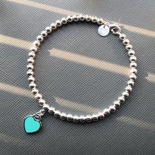 S925 prata esterlina senhoras clássico esmalte em forma de coração tag 4m grânulo pulseira senhoras populares europeus e americanos presentes do feriado