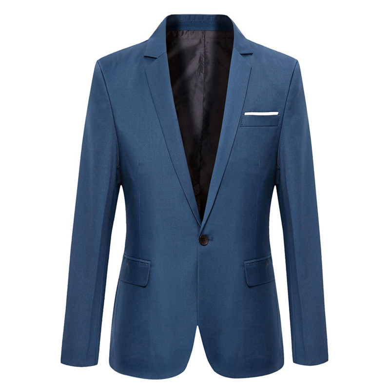 Blue Men Blazers Work Office 2019 Men Tuxedos For Formal Occasions Pockets Coat Blazers Male Custom Men's Business Slim Blazers