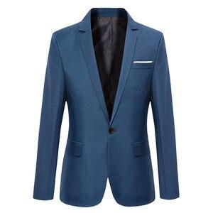 Blue Men Blazers Work Office 2019 Men Tuxedos For Formal Occasions Pockets Coat Blazers Male Custom Men's Business Slim Blazers